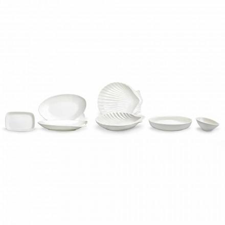 Zestaw porcelanowych naczyń z białej porcelany 30 sztuk - Nalah