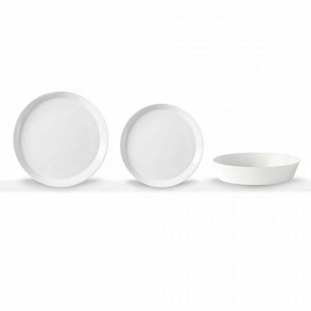 Elegancki 18-częściowy zestaw talerzy obiadowych z białej porcelany - Egle