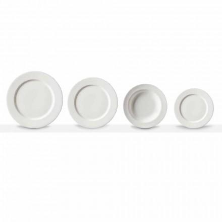 Zestaw porcelanowych talerzy obiadowych w kolorze białym, 24 sztuki - Samantha
