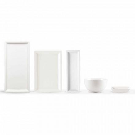 Zestaw nowoczesnych porcelanowych talerzy z białej porcelany 25 sztuk - podstawa