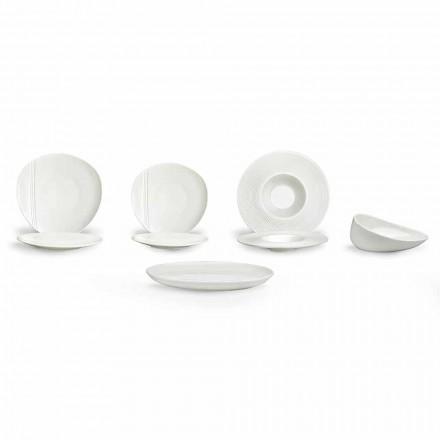 Zestaw porcelanowych nowoczesnych talerzy obiadowych 26 sztuk - Nalah