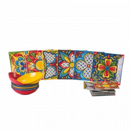 Porcelanowy i kamionkowy kolorowy talerz obiadowy 18 sztuk - Aztekowie