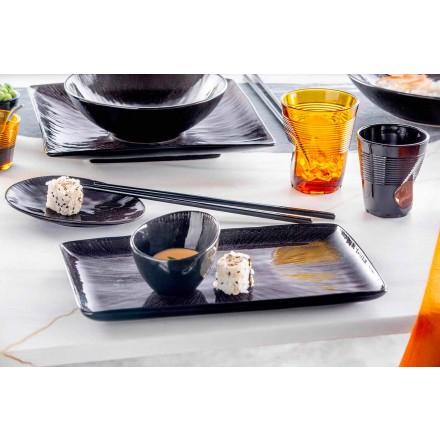 Komplet obiadowy 28-częściowy kompletny czarny porcelanowy nowoczesny design - Skar