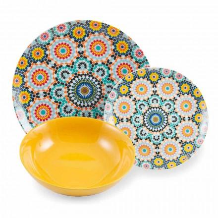 Zestaw kolorowych etnicznych talerzy obiadowych Porcelana i kamionka 18 Szalony - Maroko