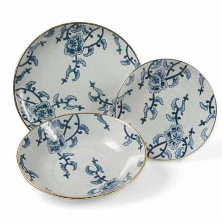Zestaw obiadowy w niebiesko-białej porcelanie Modern 18 sztuk - Kyushu