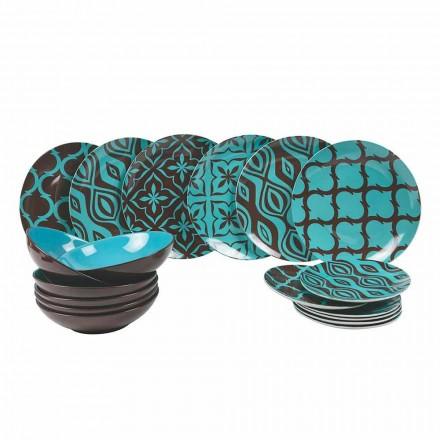 Zestaw obiadowy Porcelana Kolorowa porcelana Modern 18 sztuk - Timesquare