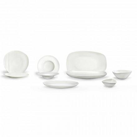 Zestaw porcelany z białej porcelany 23 sztuki Nowoczesny i elegancki design - Nalah