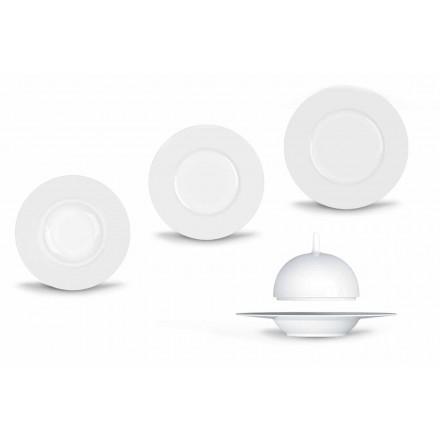 Nowoczesny i elegancki zestaw obiadowy z porcelany 24 sztuki - teleskop