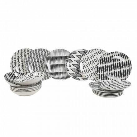 Elegancki zestaw obiadowy z czarną i białą porcelaną 18 elementów - Tanzania