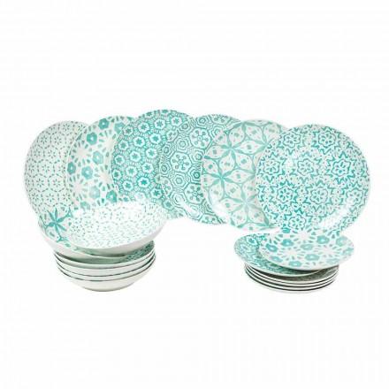 Nowoczesny zestaw obiadowy z jasnoniebieskiej lub niebieskiej porcelany 18 elementów - Avion