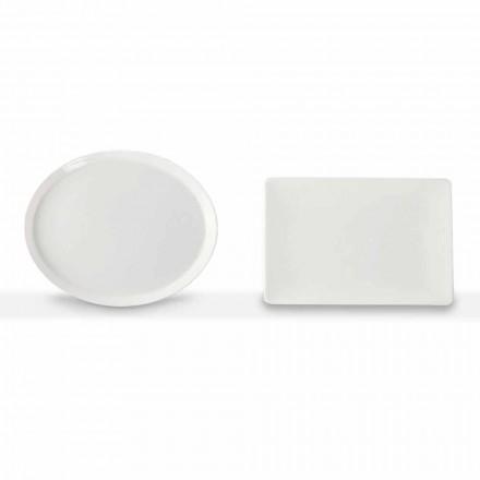 Zestaw Talerzy Obiadowych Owalny i Prostokątny 3 Kawałki Porcelany - Egle