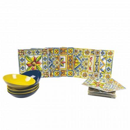 Zestaw nowoczesnych kolorowych kwadratowych talerzy z porcelany 18 sztuk - lato