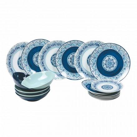 Nowoczesne naczynia stołowe Porcelana i kamienne talerze Ukończ 18 sztuk - Ravello