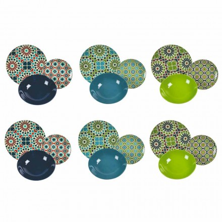Naczynia stołowe Porcelana i nowoczesna kamionka kolorowa 18 sztuk - spichlerze
