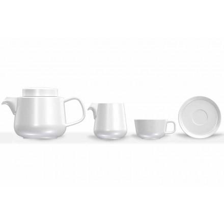 Porcelanowy serwis do filiżanek i spodków, porcelanowy imbryk i dzbanek na mleko 14 sztuk - Arctic
