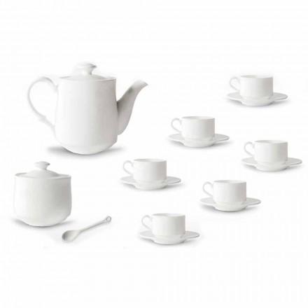 Zestaw filiżanek do kawy z białej porcelany do układania w stosy 15 elementów - Samantha