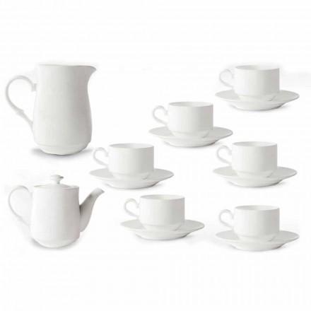 Filiżanki do cappuccino z białej porcelany Serwis 14 sztuk śniadaniowych - Samantha