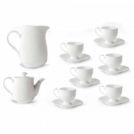 Serwis filiżanek do cappuccino ze stopką 14 sztuk z białej porcelany - Armanda