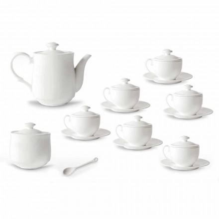 Zestaw filiżanek do herbaty z białej porcelany 21 sztuk z pokrywką - Samantha
