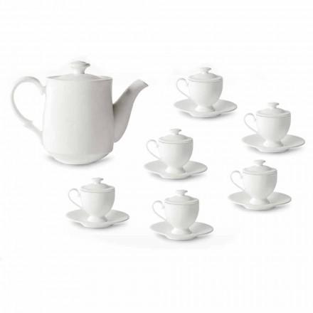 Serwis do filiżanek do kawy ze stopką i pokrywką, 19 sztuk z porcelany - Armanda