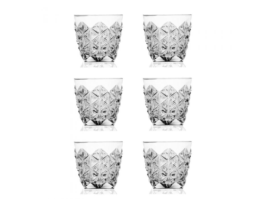 Butelka Serwisowa Whisky i Niskie Szklanki Eco Crystal 7 Sztuk - Rebus