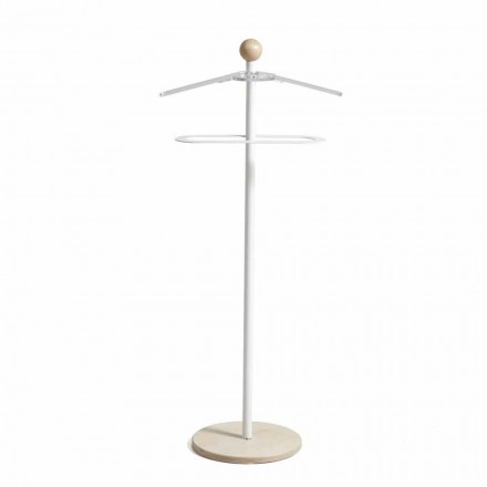 Wieszak na ubrania metalowy biały z drewnianą podstawą Fedor