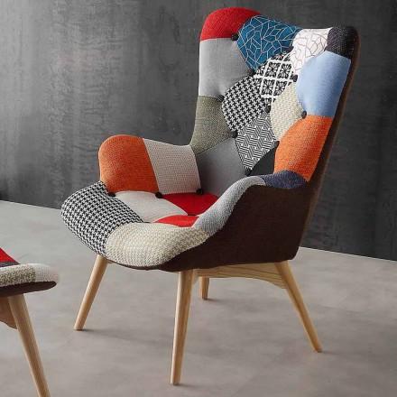 Fotel patchwork multikolor z drewnianymi nogami model Veronica
