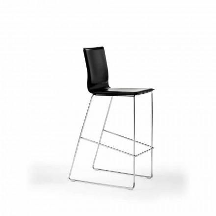 Designerski stołek z możliwością układania w stos ze stali, drewna, skóry, sztucznej skóry lub skóry, 2 sztuki