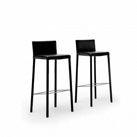 Design Stalowy stołek tapicerowany sztuczną skórą, skórą lub skórą - model Pitt