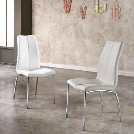Set 4 krzesła design z metalu i sztucznej skóry Alba
