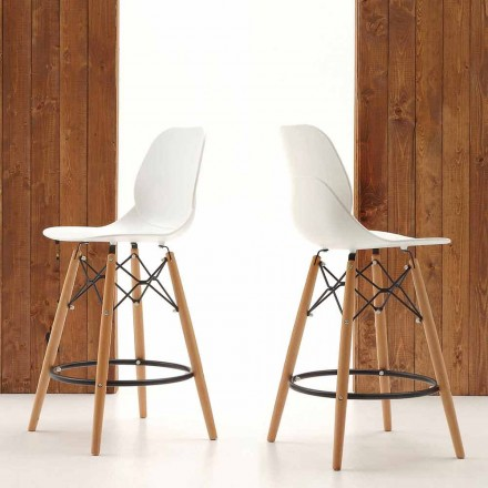 Krzesło hoker drewno jesionu i polipropylen model Torretta