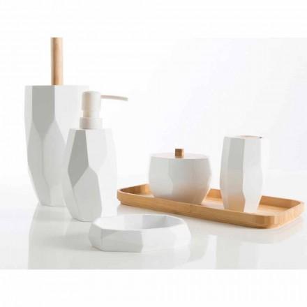 Zestaw designerskich akcesoriów łazienkowych z drewna i żywicy Rivalba