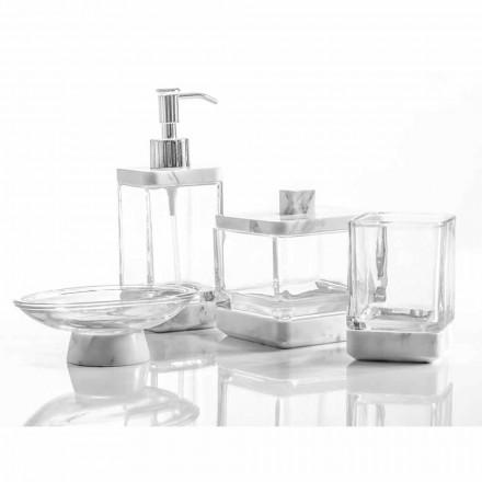Nowoczesne akcesoria łazienkowe w marmurze Calacatta i szkle Carona