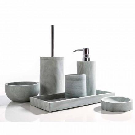 Zestaw akcesoriów łazienkowych z szarego kamienia