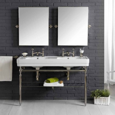 Meble łazienkowe podwójna umywalka biała ceramika z konstrukcją Linear
