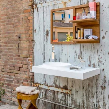 Zestaw mebli łazienkowych Brusson wykonany z litego drewna o nowoczesnym wyglądzie