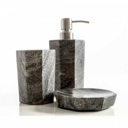 Zestaw nowoczesnych akcesoriów łazienkowych w żyłkowany szary marmur Montafia