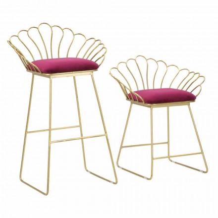 Para nowoczesnych kolorowych stołków z żelaza i poliestru - Malika