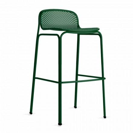 Wysokie sztaplowane zewnętrzne stołki barowe z metalu, 2 sztuki - Viviette