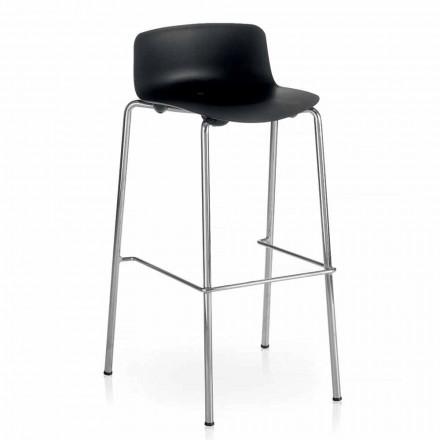 Wysoki stołek z metalu i polipropylenu Wykonany we Włoszech, 2 sztuki - Christabel