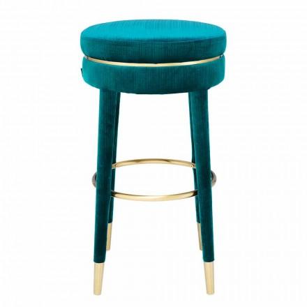 Wysoki stołek z siedziskiem pokrytym tkaniną i stalowymi detalami - Belluno