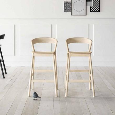Wysoki stołek kuchenny z konstrukcją z drewna jesionowego Made in Italy - Oslo