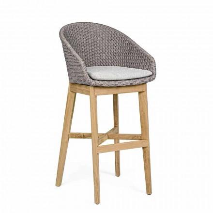 Wysoki stołek ogrodowy z liny i drewna tekowego, Homemotion, 2 sztuki - Anitha
