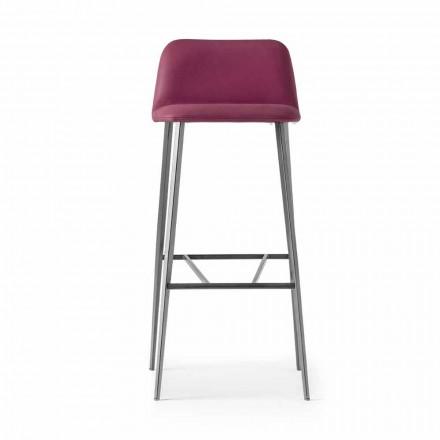 Wysokiej jakości skórzany stołek z metalową podstawą Made in Italy - Molde