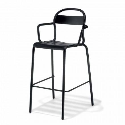 Wysoki stołek zewnętrzny z aluminium z podłokietnikami Made in Italy - Selima