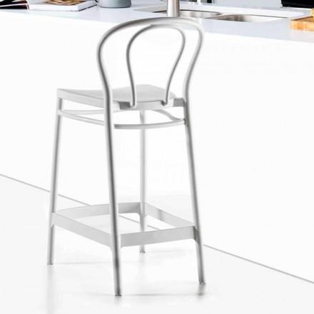 Wysoki stołek z polipropylenu z podnóżkiem, 4 sztuki - Gaya