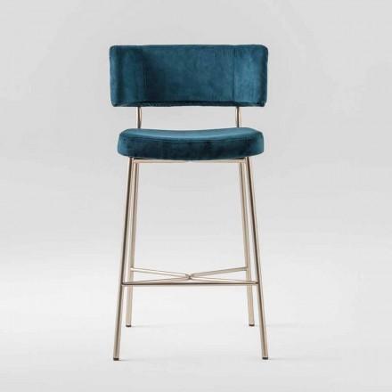 Wysoki cenny stołek z aksamitną tapicerką Made in Italy - Alaska