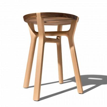 Niski stołek z buku i litego orzecha Made in Italy - Nuna
