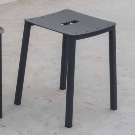 Nowoczesny niski stołek zewnętrzny z aluminium do układania w stosy Made in Italy - Dobla