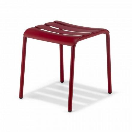 Niski stołek z aluminium malowanego na zewnątrz Wykonany we Włoszech - Sondra